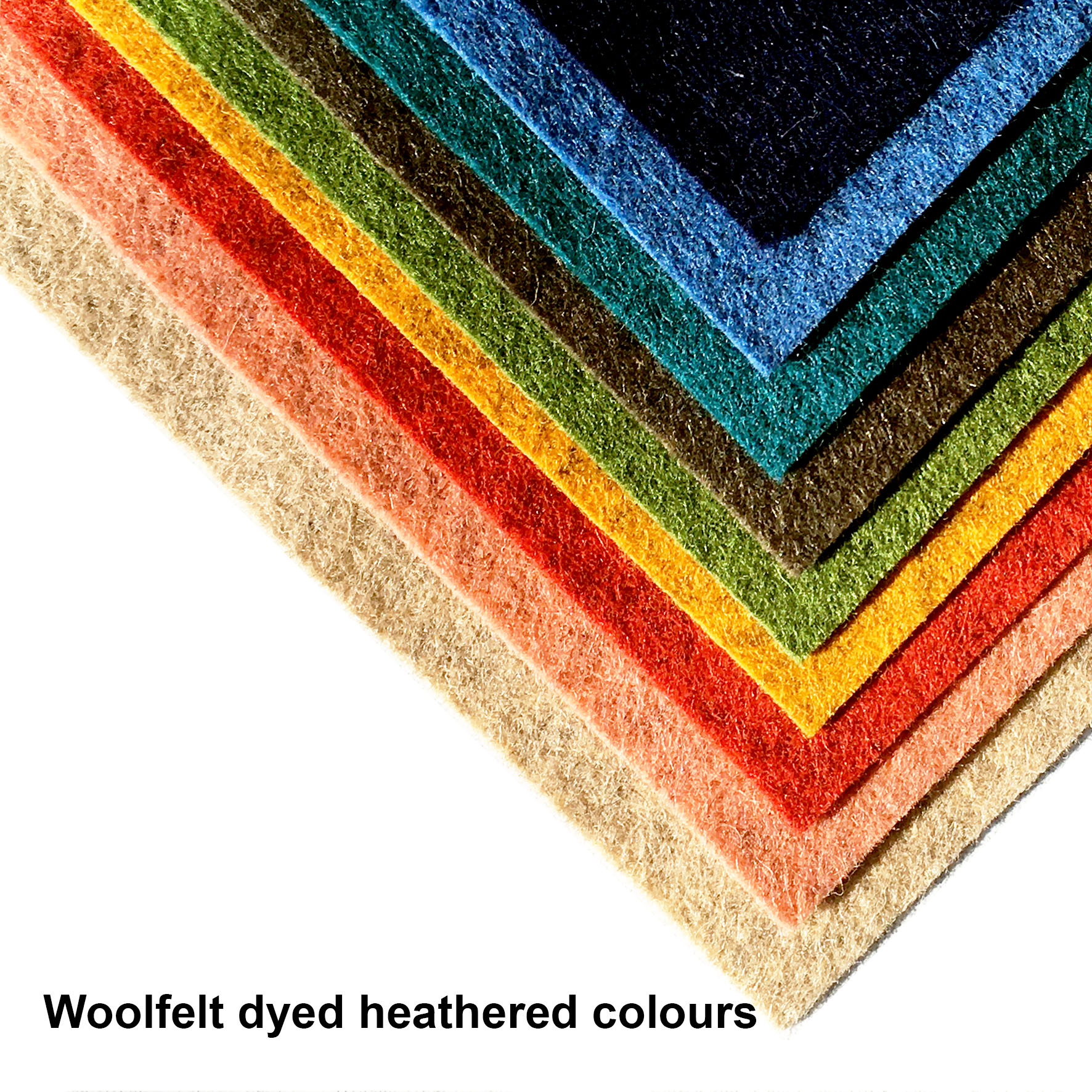 Woolfelt dyed heathered colours